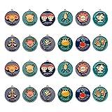 PandaHall 24pcs Ciondoli Dodici costellazioni Lega dello Zodiaco Ciondoli smaltati Set di ciondoli per Gioielli Piatti Rotondi Charms per Braccialetti Collane Portachiavi Forniture Accessori