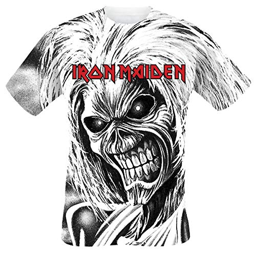 Iron Maiden Killers Allover Hombre Camiseta Blanco XL, 100% algodón, Regular