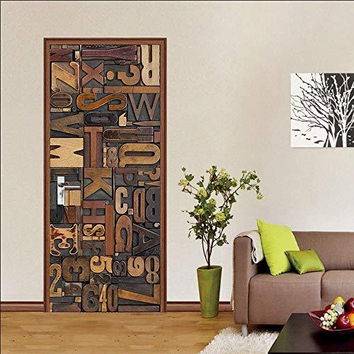 Adesivi Per Porte Interne 3d Alfabeto Digitale Adesivo Murale Decorazione Domestica Art Decal Camera Da Letto Soggiorno Poster Rimovibile Adesivi Per Porte -95x215cm