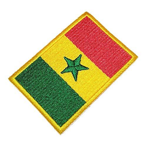 BIN200T Senegal-Flaggen-Emblem, 100 prozent bestickt, zum Aufbügeln oder Aufnähen, Größe 8,9 x 6,1 cm