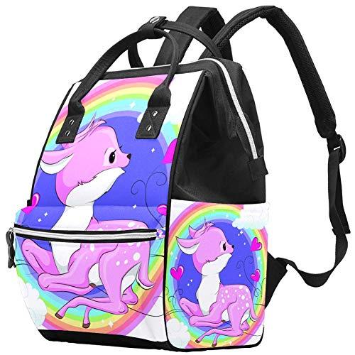 Wickeltasche mit weißen Kreisen, Regenbogen-Reh Wickeltasche, wasserabweisend, Baby-Wickeltasche mit isolierter Wasserflaschentasche, Wickelunterlage für Damen/Mädchen/Mama