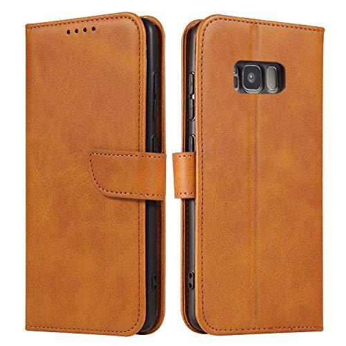 Ancase Handyhülle für Samsung Galaxy S5 Hülle Orange Lederhülle Flip Hülle Cover Schutzhülle mit Kartenfach Ledertasche für Mädchen Damen