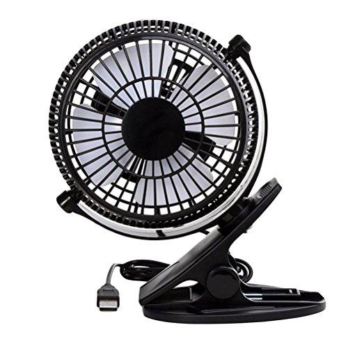 VORCOOL 8 Inch USB Clip Desk Personal Fan Table Fan Desk Fan Air Cooler Silence Oscillating Table Fan (Black)