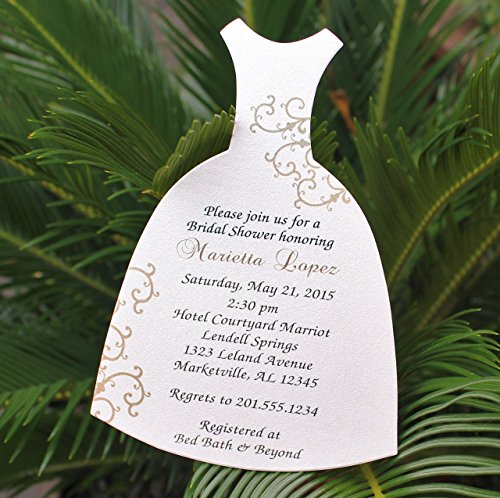 Set of 10 Bridal Shower, Wedding Shower Invitations in the Shape of a Bride Dress - Gold Flourish Design