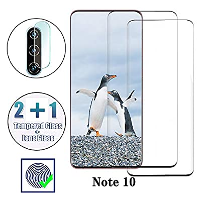 Screen Protector for Galaxy Note 10/ Note10 5G, 9HTempered Glass, Ultrasonic Fingerprint Compatible, 3D Curved, HD Clear, Case Friendly Bubble-Free for Samsung Galaxy Note 10 Glass Screen Protector
