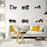 Construcción de dibujos animados camión grúa excavadora pegatinas de pared habitación de los niños construcción de camiones pegatinas de pared sala de juegos vinilo-117x6cm