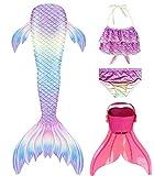 shepretty Meerjungfrauenschwanz zum Schwimmen für Kinder mit Meerjungfrau Flosse,fenfenG2,130
