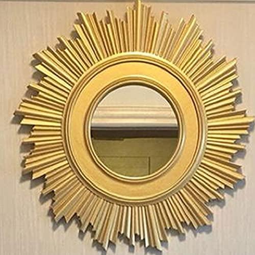 Espejo de Maquillaje LED, Espejo de Pared de Sala de Estar Decorativo de Porche, Espejo de Madera Tallado a Mano de Lujo Ligero, Espejo Irregular, Espejo de Restaurante