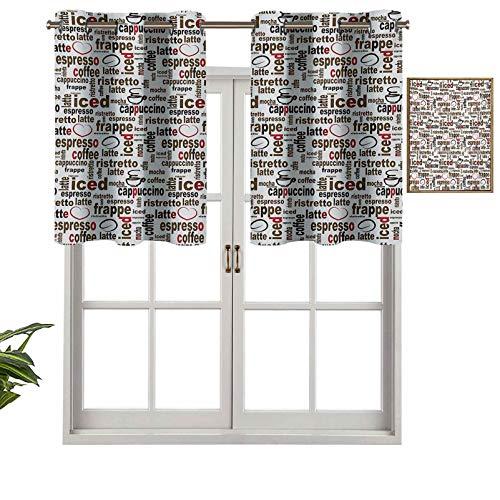 Cenefas opacas con aislamiento térmico para cortinas cortas, diseño de café con texto en inglés en tamaños de punto, ilustración digital, juego de 1, 137 x 45 cm para cocina y baño
