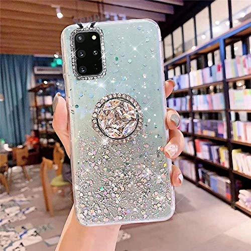 Samsung Galaxy S20 Plus Coque Transparent Glitter avec Support Bague,étoilé Bling Paillettes Motif Silicone Gel TPU Housse de Protection Ultra Mince Clair Souple Case pour Galaxy S20 Plus,Vert