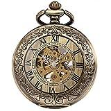 SIBOSUN Steampunk Esqueleto Mecánico Bronce Fob Retro Reloj de bolsillo Lupa Hombres Antiguo Números Romanos