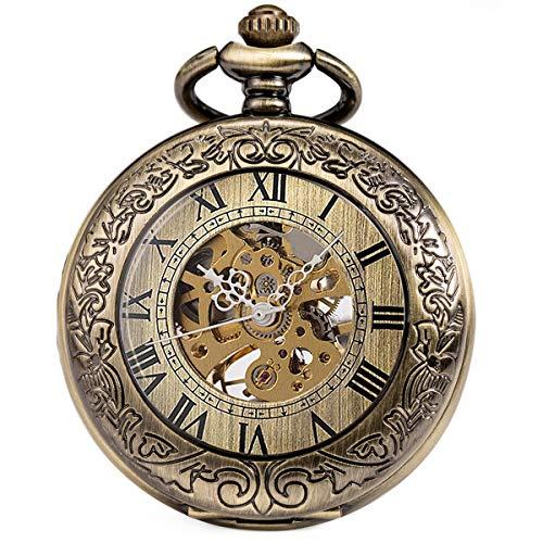 SIBOSUN Pocket Watch Mechanical Skeleton Antique Men Bronze Roman Numerals Hand Wind