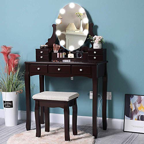 Iwell Vanity Table Set with 10 Hollywood Lighted Mirror, 7 Drawers, Makeup Dressing Vanity Table with Cushioned Stool, Dresser Desk for Bedroom, Gift for Women, Girl, Brown