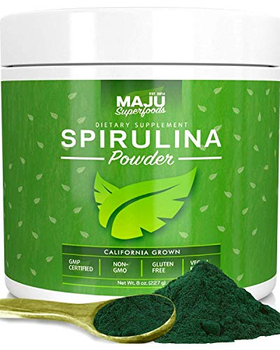 MAJU's Spirulina Powder, Microcystin Free, USA Grown, Non-Irradiated, Non-GMO, Preferred to Chlorella, Pesticide-Free, Preferred to Organic Hawaiian & Blue Algae, Pure Vegan Green Protein