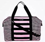 Victoria's Secret Large Weekender Duffel Bag Black and Pink Striped