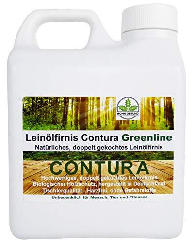 1 Liter Contura Natur Holzschutz Leinölfirnis Gefahrstofffrei Holzöl Leinöl Firnis Holz Möbel Lasur Lackfirnis
