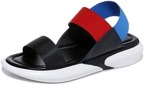 LTN Ltd - sandals Sandales en Cuir Femmes D'été Femmes Enceintes Fond Mou Chaussures de Plage de Vacances, Noir, 38