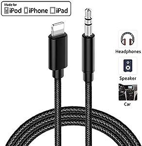 Cable de Audio AUX para Coche dapter para iPhone 7/7 Plus / 8/8 Plus/X/XR/XS/XS MAX / 11/11 Compatible con Radio de Coche/Soporte para Auriculares Todos los Sistemas iOS - Negro