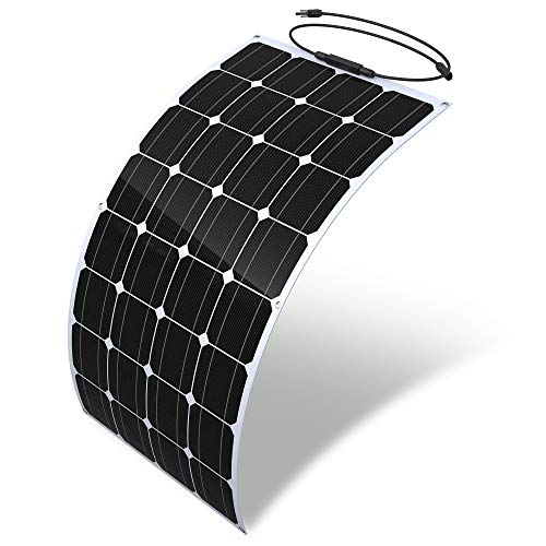LiZHi Solar Panel 100w, Flexible Monocrystalline Solar Panel Kit, 18 Volt 5.5A, Up to 30 Degree Arc Ultra Thin, for RV, Boat, Yachts, Tent, Camper Van, Car, Trucks, Trailers