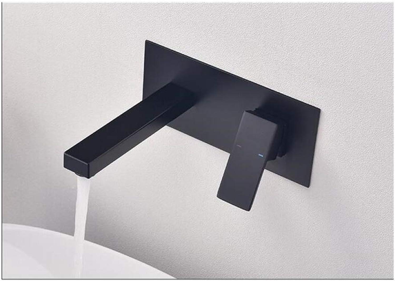 MALIAO Matte Schwarze Farbe verbreitet Bad eingebettet Becken Wasserhahn Wandmontage Wasser Mischbatterie Chrom Waschbecken