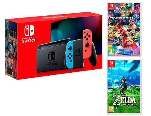 Nintendo Switch Console Rouge/Bleu Néon 32Go [Nouveau modèle]+ Mario Kart 8 Deluxe + Zelda: Breath of The Wild