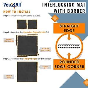 Yes4All Interlocking Exercise EVA Mat Floor Protector (120 Square Feet - Black - with Border) - ²XPAJZ