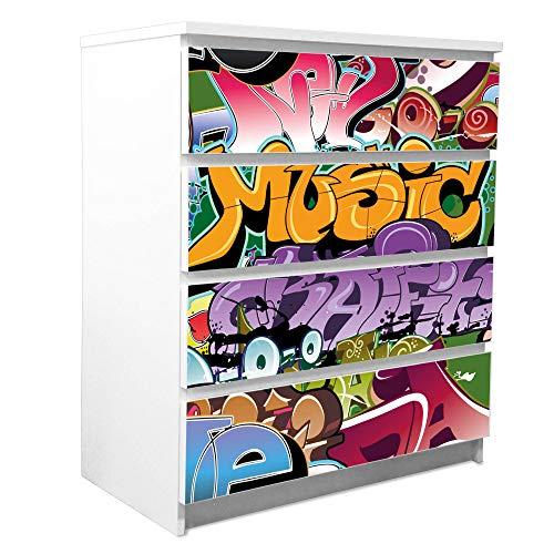 banjado Möbelfolie passend für IKEA Malm Kommode 4 Schubladen | Möbel-Sticker selbstklebend | Aufkleber Tattoo perfekt für Wohnzimmer und Kinderzimmer | Klebefolie Motiv Graffiti