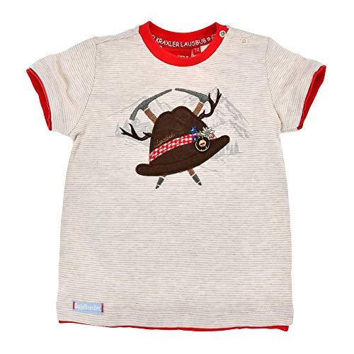 BONDI T-Shirt halbarm Geringelt ´Trachtenhut´, Stripe beige/Weiss 98 Tracht Baby Jungs Artikel-Nr.91371