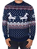 Tipsy Elves Men's Ugly Christmas Sweater - Reindeer Climax Tacky Christmas Sweater Blue