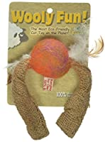 One Pet Planet Wooly Fun Tussle Ball with Feathers by One Pet Planet