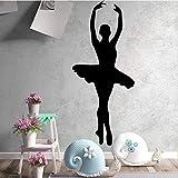Tianpengyuanshuai Belleza Baile Flor decoración del hogar niña habitación Etiqueta de la Pared 42X73cm