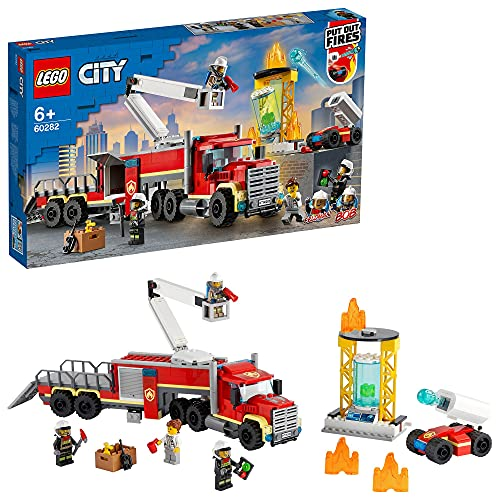 LEGO City Fire Unità di Comando Antincendio dei Vigili del Fuoco, Camion Pompieri, Giocattolo per Bambini di 6 Anni con Piattaforma Aerea, 60282