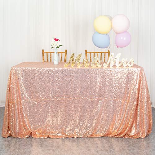decorazioni natalizie rosa gold ShinyBeauty tovaglia con paillettes argento tovaglia con paillettes per tovaglie natalizie tovaglia rettangolare lavabile per matrimoni / feste 60 x 102 pollici (60x102 pollici