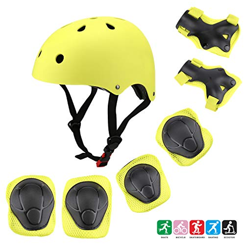 Kuulla Kids Helmet Kids Toddler Protective Gear Set - Unisex for Girls and Boys - Helmet and Pads - Elbow Knee Skateboard Gear - Other Extreme Sports Activities (Yellow-Green)