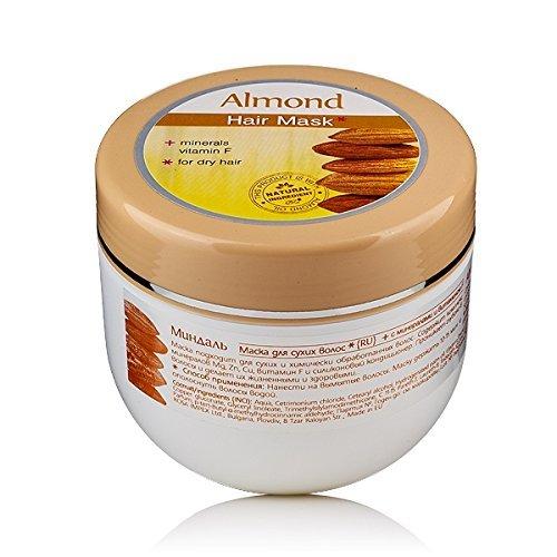 Amande Masque capillaire avec huile d'amande et vitamine F pour cheveux secs et traités Améliore la brillance