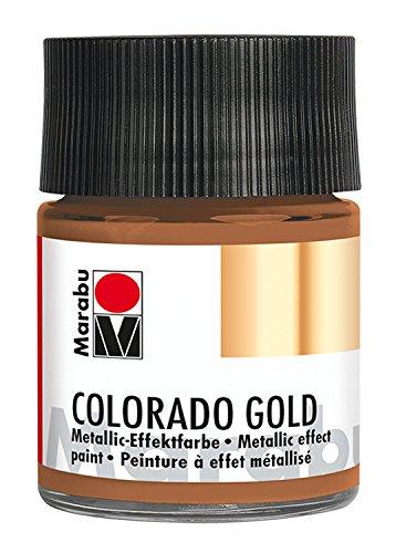 Marabu 12640005794 - Metallic Effektfarbe, Colorado Gold antik kupfer 50 ml, auf Wasserbasis, lichtecht, wetterfest, schnell trocknend, zum Pinseln und Tupfen auf saugenden Untergründen