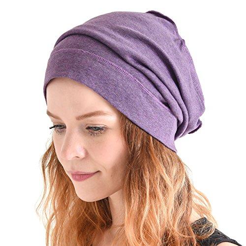 CHARM Casualbox Bio Baumwolle Hängen Beanie Hängend Baggy Hut Für Männer & Frauen Hipster Mode Kopfbedeckungen Lila