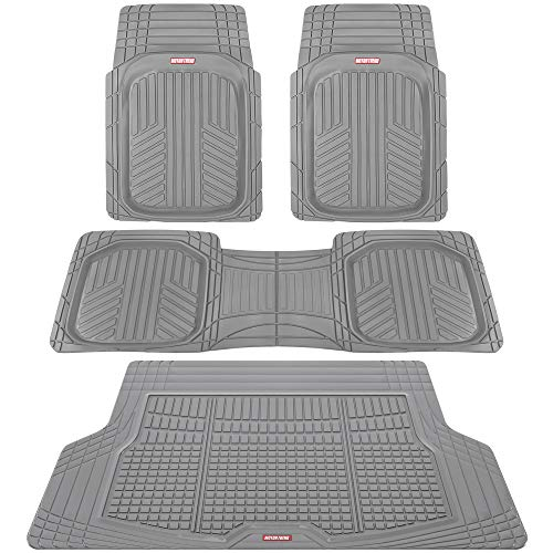 Motor Trend Premium FlexTough All-Protection Cargo Liner - DeepDish Front & Rear Mats Combo Set – w/ Traction Grips, Gray