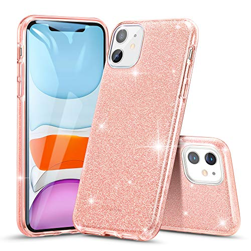 ESR Glitter Case Compatible for iPhone 11 Case, Glitter Sparkle Bling Case [Three Layer] for Women [Supports Wireless Charging] for iPhone 11 6.1' (2019), Coral