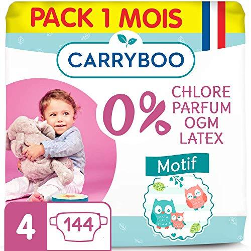 Carryboo - 144 Couches Ecologiques Taille 4 (7-18 kg) - Hypoallergéniques, Sans Parfum - Fabriquées en France - Pack 1 mois