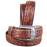 3D Men's Vintage Ostrich Print Leather Belt Tan 38