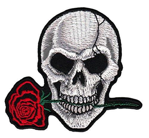 Totenkopf Grau Rose Aufnäher Bügelbild