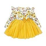 FYMNSI Vestido de manga larga para bebé con estampado floral de algodón, tutú, vestido de princesa, vestido de fiesta, otoño, para sesiones de fotos. amarillo 6 Meses