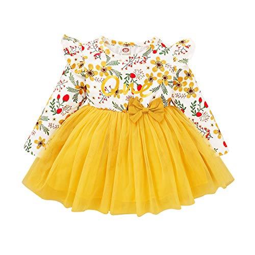 FYMNSI Robe de premier anniversaire pour bébé fille - Motif floral - Coton - Manches longues - Tutu - Robe de fête - Robe de fête - Automne - Loisirs - Photographie - Jaune - 18 mois