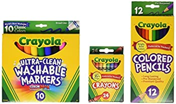 Crayola Back To School Supplies Grades 3-5 Ages 7 8 9 10 Contains 24 Crayola Crayons 10 Washable Broad Line Markers and 12 Colored Pencils
