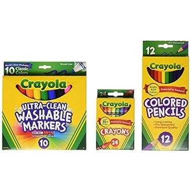 Crayola Back To School Supplies, Grades 3-5, Ages 7, 8, 9, 10, Contains 24 Crayola Crayons, 10 Washable Broad Line…