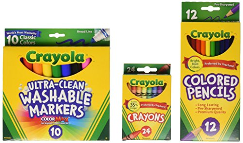 Crayola Back To School Supplies, Grades 3-5, Ages 7, 8, 9, 10, Contains 24 Crayola Crayons, 10 Washable Broad Line Markers, and 12 Colored Pencils
