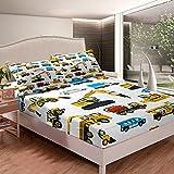 Loussiesd Excavadora sábana ajustable niños equipo de construcción coches cama conjunto maquinaria camión ropa de cama conjunto para niños adolescentes cama cubierta suave tamaño individual