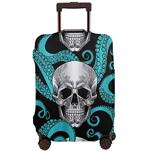 Travel Suitcase Protector Blue Octopus Sugar Skull Luggage Cover Protective Travel Trunk Case Elastic Suitcase Protector Covers Fits 18-21 Inch Luggage