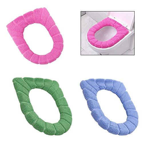 BESTOMZ [3 pezzi] bagno più spessi più caldo morbido elastico lavabile panno Toilet Seat cover Pads
